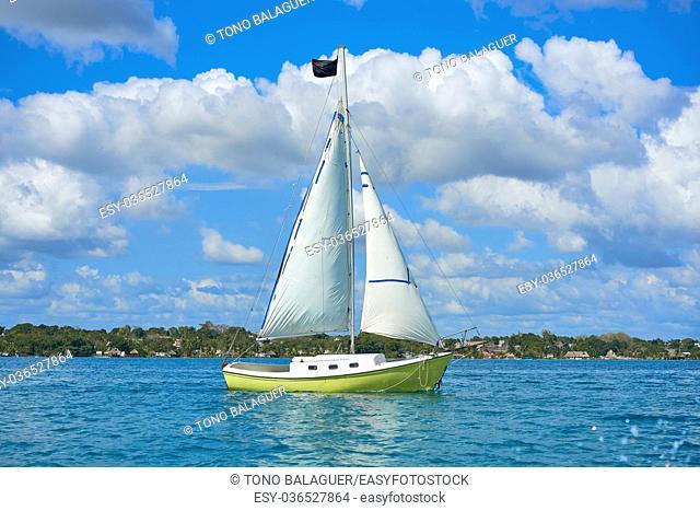 Laguna de Bacalar Lagoon sailboat in Mayan Mexico at Quintana roo