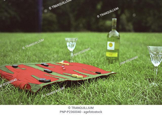 Backgammon auf dem Rasen