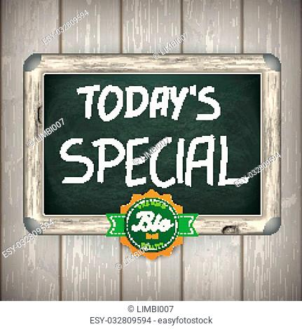 Blackboard with text Todays Special on the wooden background
