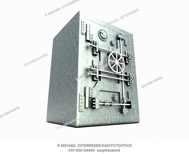 A bank safe. 3D rendered Illustration. Isolated on white
