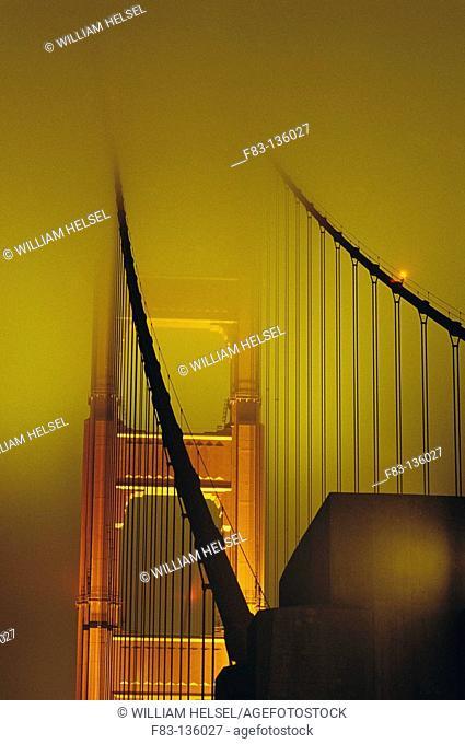 Golden Gate Bridge in fog, San Francisco. California, USA