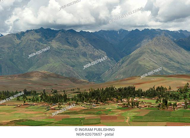 High angle view of Sacred Valley, Cusco Region, Peru