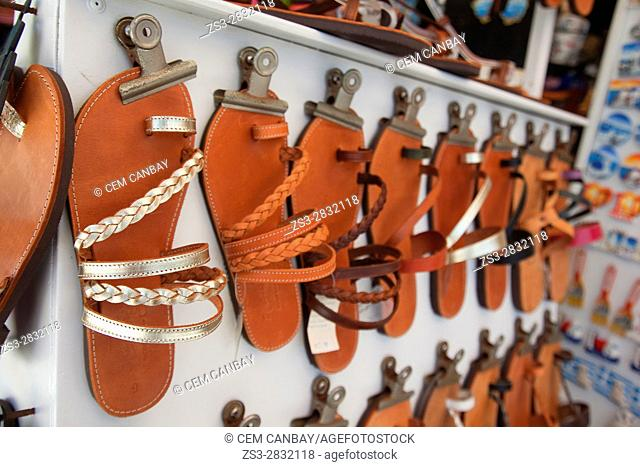 Sandals made from leather at a shop in the old town Chora, Naxos, Cyclades Islands, Greek Islands, Greece, Europe