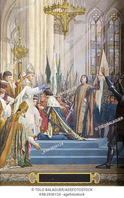 Jeanne d'Arc à Reims lors du sacre du roi Charles VII, Lenepveu, 1889-1890. Panthéon, neoclassical monument, Paris, France