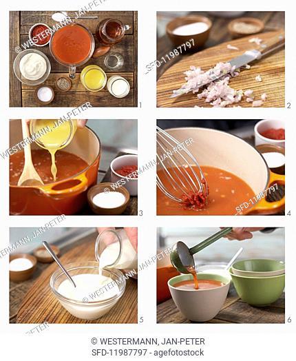 How to prepare orange & tomato soup with cream rosettes