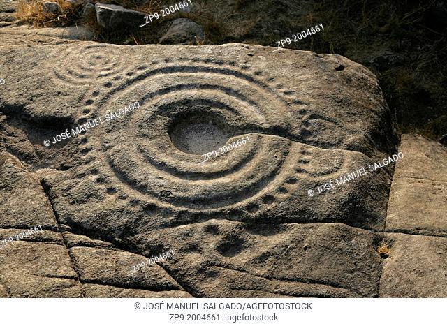 """Petroglyph """"""""A laxe das Rodas"""""""", in Muros, Galicia, Spain"""
