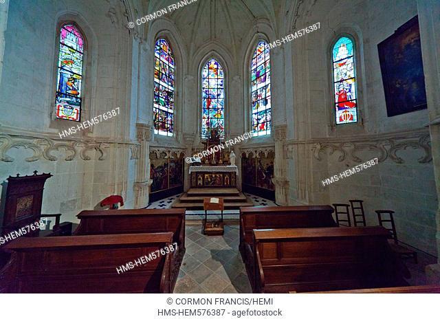 France, Loir et Cher, Loire Valley listed as World Heritage by UNESCO, Chateau de la Loire castles of the Loire, Chateau de Chaumont sur Loire, the chapel