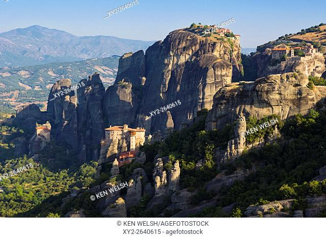 Meteora, Thessaly, Greece. Panorama showing four of the six monasteries still used. From left: St Nicholas (in background), Rousanou or Roussanou