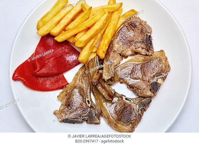 lamb chops, Restaurante Bar Virginia Mendibil Menus & Fast Good, Irun, Gipuzkoa, Basque Country, Spain