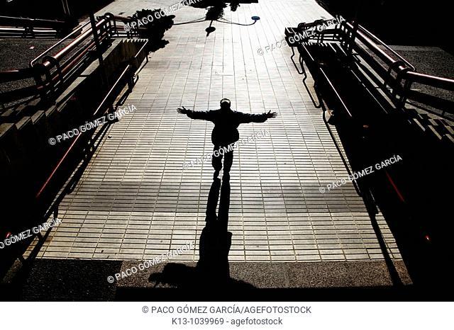 Mendigo en el centro financiero AZCA  Madrid  España