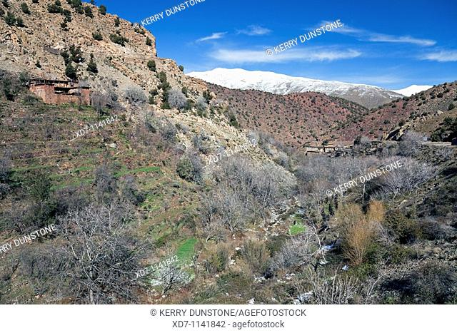 Morocco High Atlas Mountains Oued Nfiss Valley with terraced hill farm