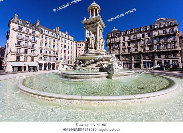 France, Rhone, Lyon, historical site listed as World Heritage by UNESCO, Cordeliers district, fountain of the Place des Jacobins