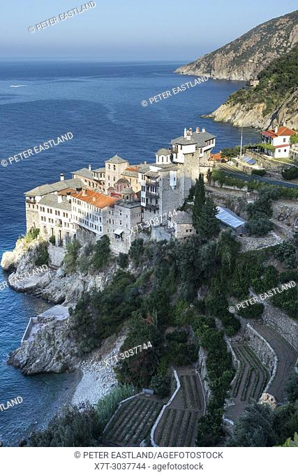 Looking down on Osiou Gregoriou monastery on The Southwest coast of the Athos peninsula, Macedonia, Northern Greece