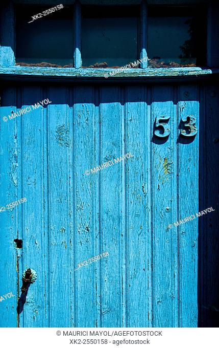 Number 53 in an old light blue door, Redu, Belgium