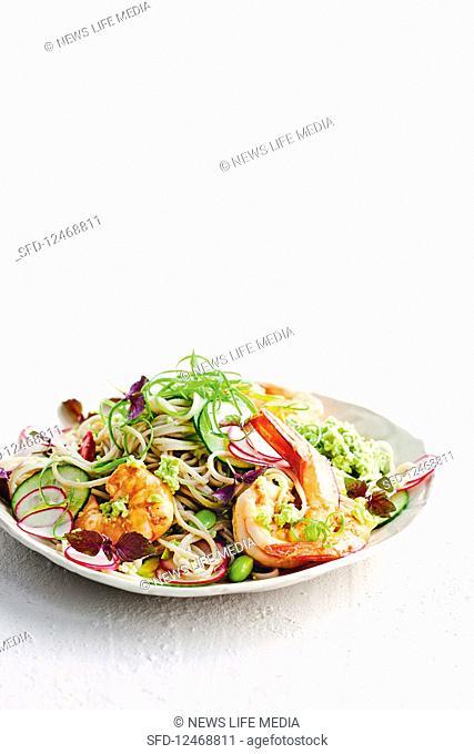 Soba noodle and prawn salad with edamame pesto