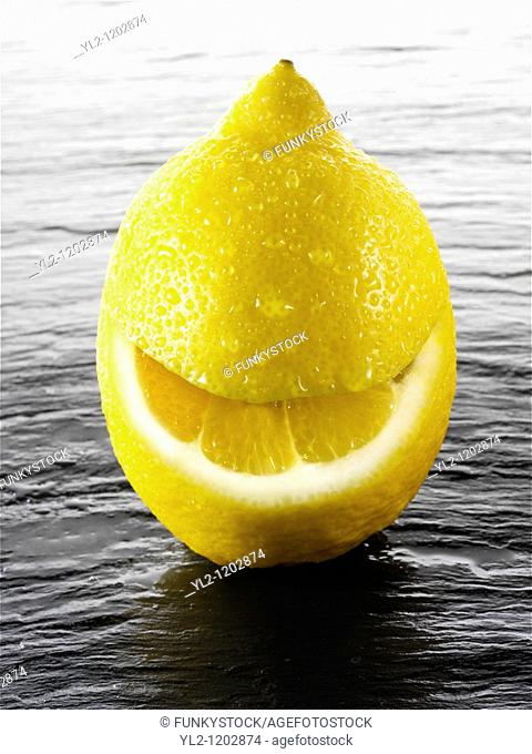Wole lemon with a smiley face