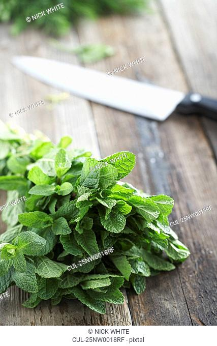 Fresh mint on rough table with knife