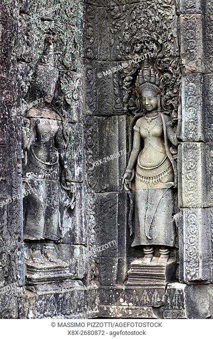 Decorations at Bayon Temple, Angkor, Siem Reap, Cambodia