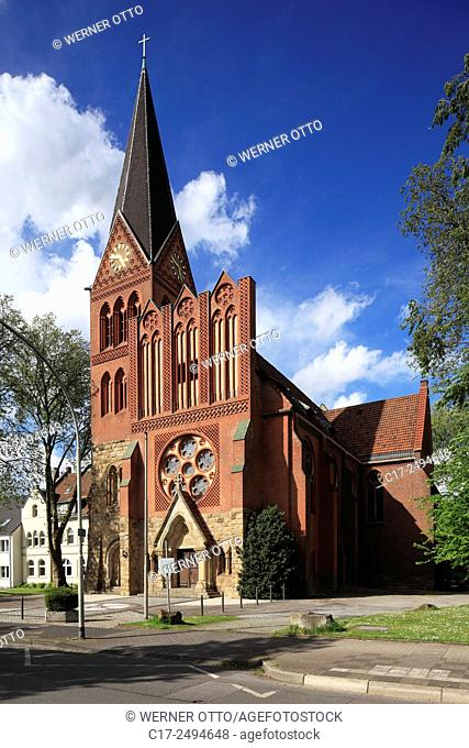 Germany, Herne, Ruhr area, Westphalia, North Rhine-Westphalia, NRW, D-Herne-Wanne, Luther Church Wanne-Nord, evangelic church, parish Crange-Wanne