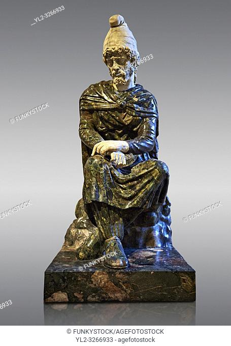 Satatue known as the Sitting captive - a Roman sculpture of the 1st or 2nd century SAD made out of Green Breche stone from the Wadi Hammamat, Egypt