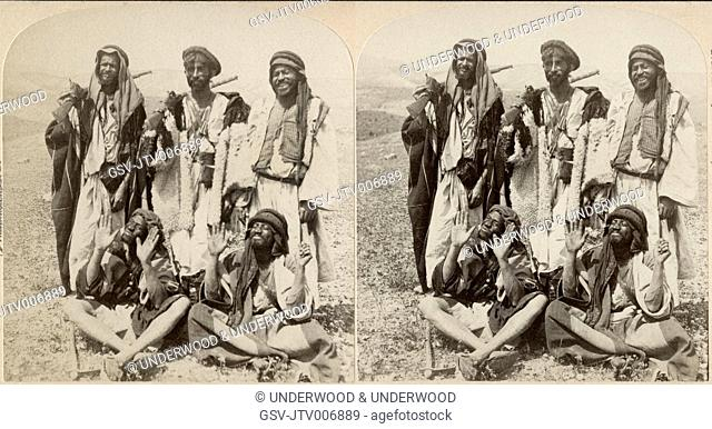 Bedouin Robbers, Wilderness of Judea, Near the Road to Jericho, Palestine, Stereo Card, 1896
