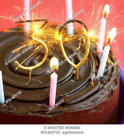 Birthday Cake With Sparklers And Candles