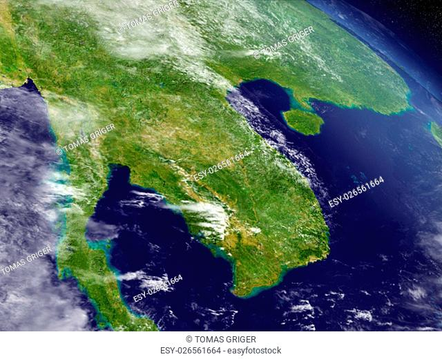 Laos and Cambodia with surrounding region as seen from Earth's orbit in space. 3D illustration with highly detailed realistic planet surface and clouds in the...