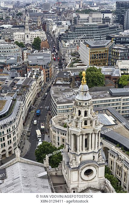 Tower of St Paul's Cathedral, cityscape from the gallery of St Paul's Cathedral, London, England, UK