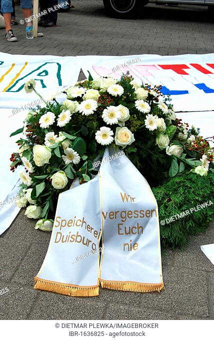 Wreath at the funeral march in memory of the victims of the Loveparade 2010 disaster, Duisburg, Ruhr Area, North Rhine-Westfalia, Germany, Europe