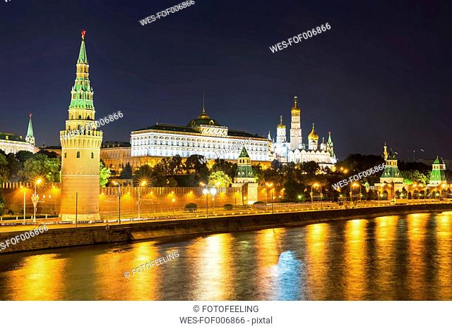 Russia, Moscow, Kremlin, Ivan the Great Bell Tower with Cathedrals of the Archangel and the Annunciation
