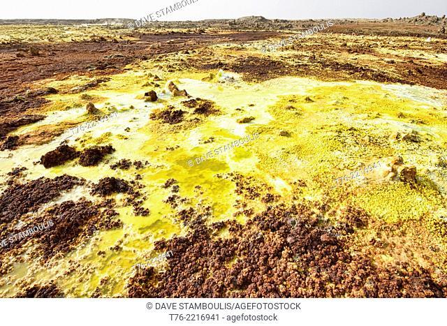 The surreal volcanic landscape of Dallol in the Danakil Depression, Ethiopia