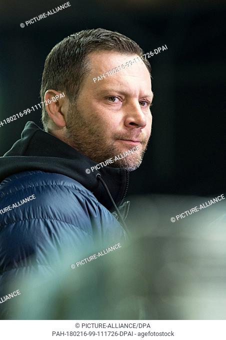 Berlin's coach Pal Dardai stands in the stadium prior to the German Bundesliga soccer match between Hertha BSC and FSV Mainz 05 in the Olympia Stadium in Berlin