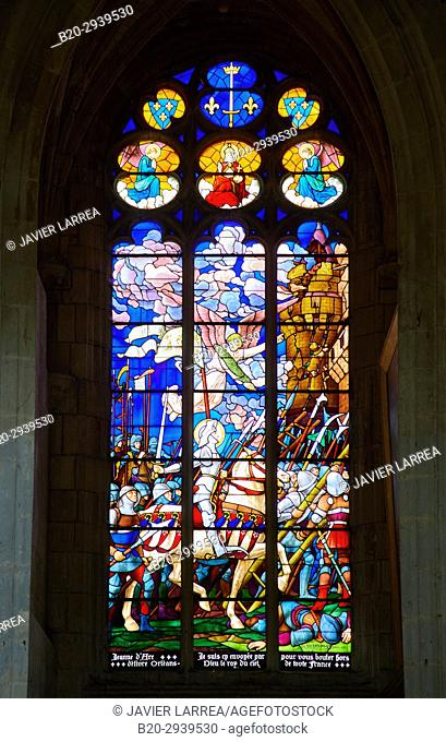 Jeanne d'Arc, Stained glass windows, Cathedrale Saint-Etienne, Auxerre, Yonne, Burgundy, Bourgogne, France, Europe