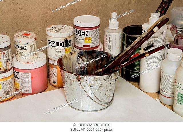 Artists paints and paintbrushes