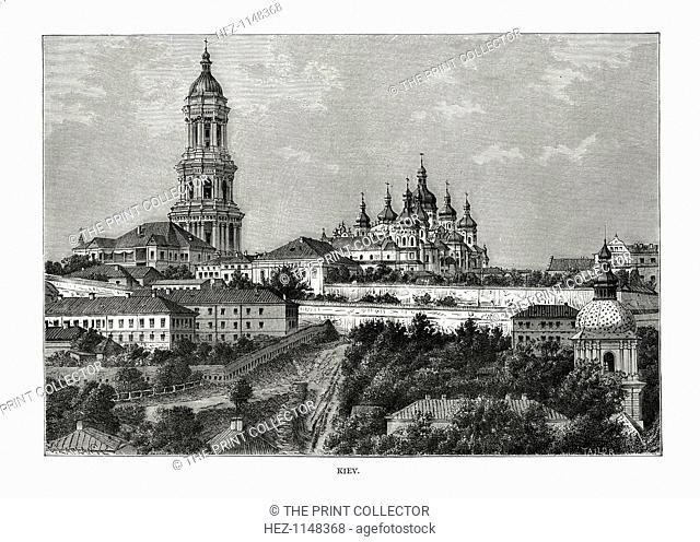 Kiev, Ukraine, 1879. View of religious buildings in the city of Kiev