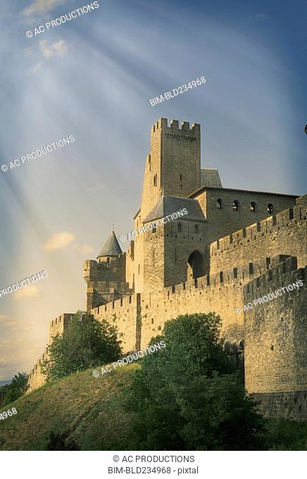 Sunbeams on castle in Carcassonne, Languedoc-Roussillon, France