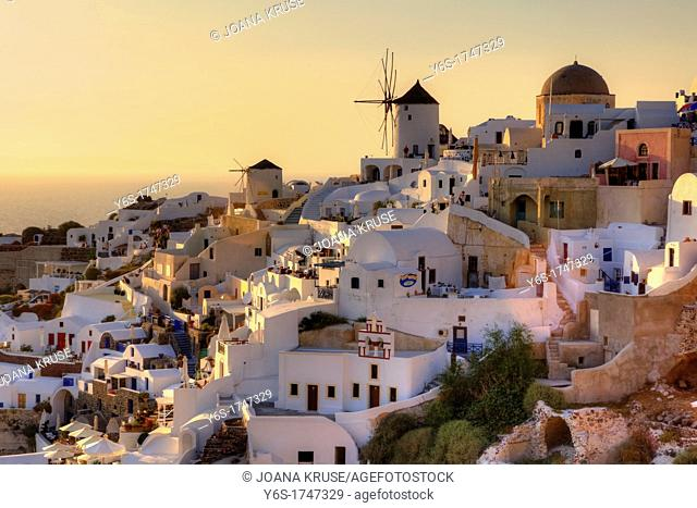 Oia, Santorini, Greece, at sunset