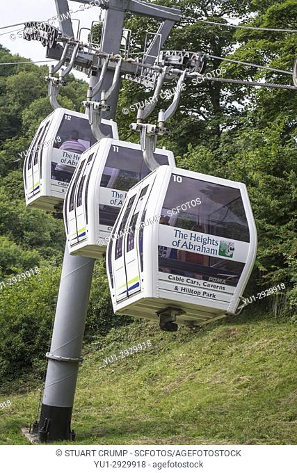 Three Gondolas Return to their station on the way from the top of the Heights of Abraham ride at Matlock Bath in Derbyshire UK
