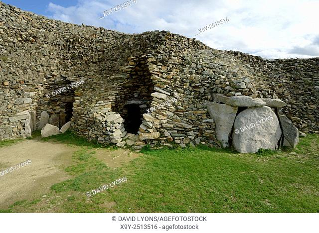 Early Neolithic 6800 year old Cairn Tumulus Mound of Barnenez. 3 of 11 passage grave chambers. Plouezoc'h, Finistere, France