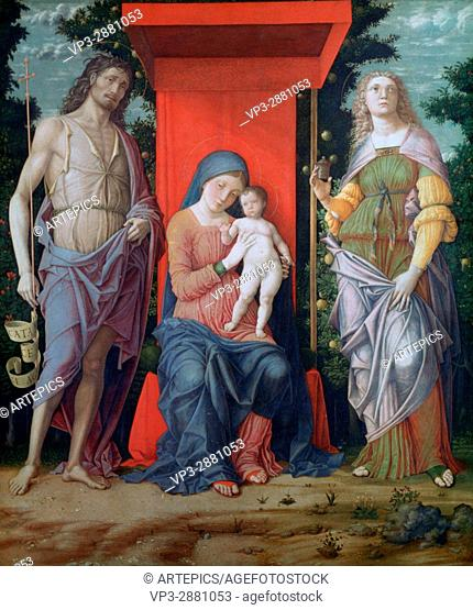 Andrea Mantegna. The Virgin and Child with Saints. National Gallery London