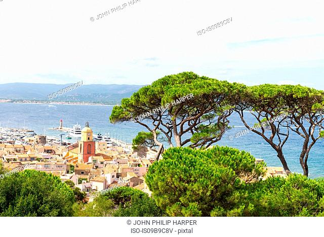 High angle view of rooftops and coast, St Tropez, Cote d'Azur, France