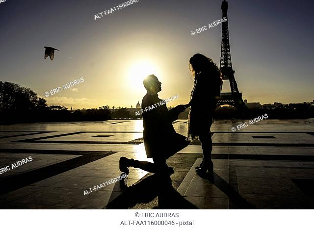 Man proposing to woman near Eiffel Tower