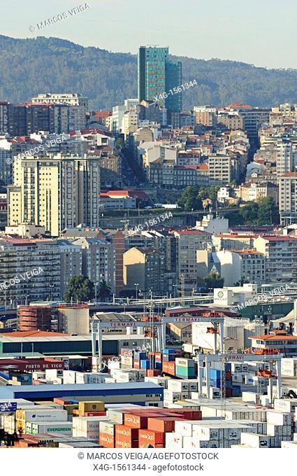 Commercial port and container terminal  Vigo, Galicia, Spain