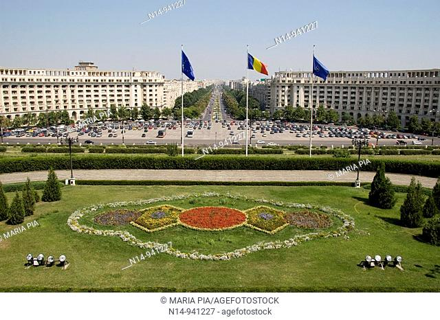 View from the Palace of Parliament, Casa Poporului (House of the People), Palace of Parliament. Bucharest. Romania