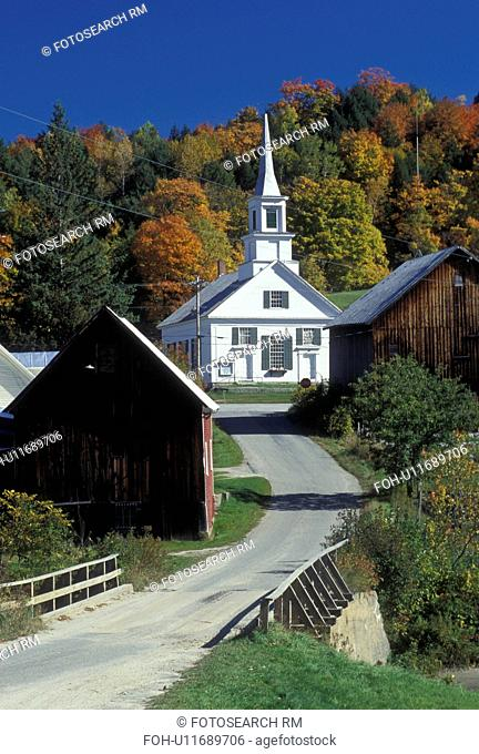 church, fall, village, Waits River, VT, Vermont, Scenic view of the village of Waits River in the autumn
