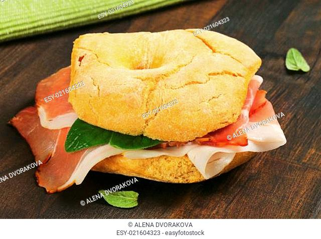 Dry-cured ham sandwich