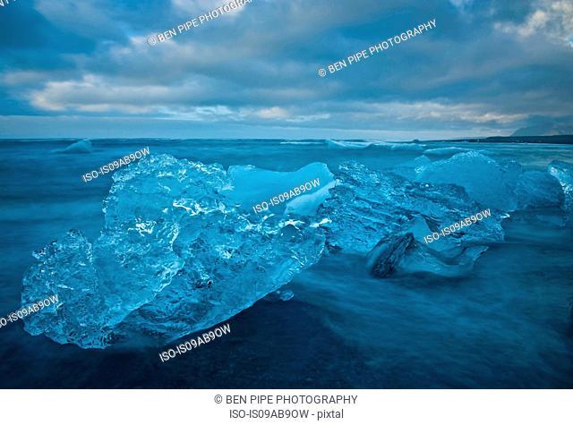 Close up of iceberg on beach, Jokulsarlon, Iceland