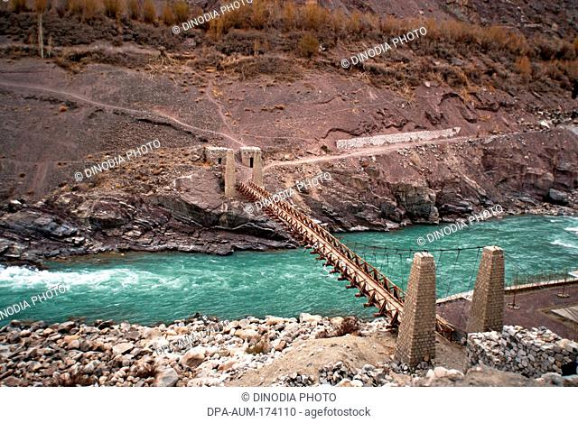 Bridge on Indus river ; Ladakh ; Jammu and Kashmir ; India 9-April-2008