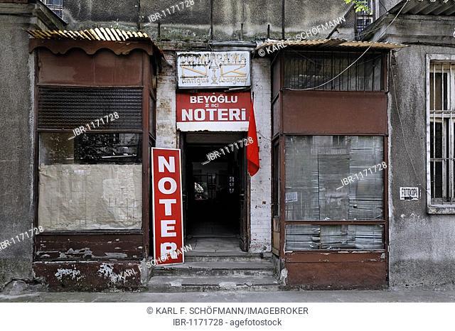 Entrance to a notary's office, run-down backyard building, Istiklal Caddesi, Independence Street, Beyoglu, Istanbul, Turkey