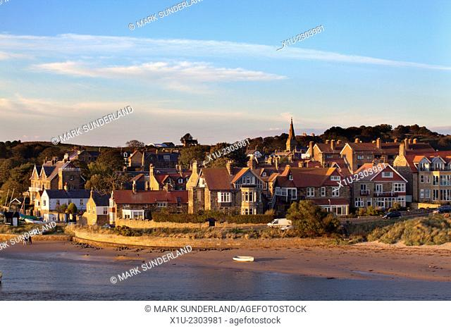 Alnmouth at Sunset from Church Hill Northumberland England